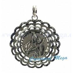 Medalla de la Virgen del Carmen con nácar